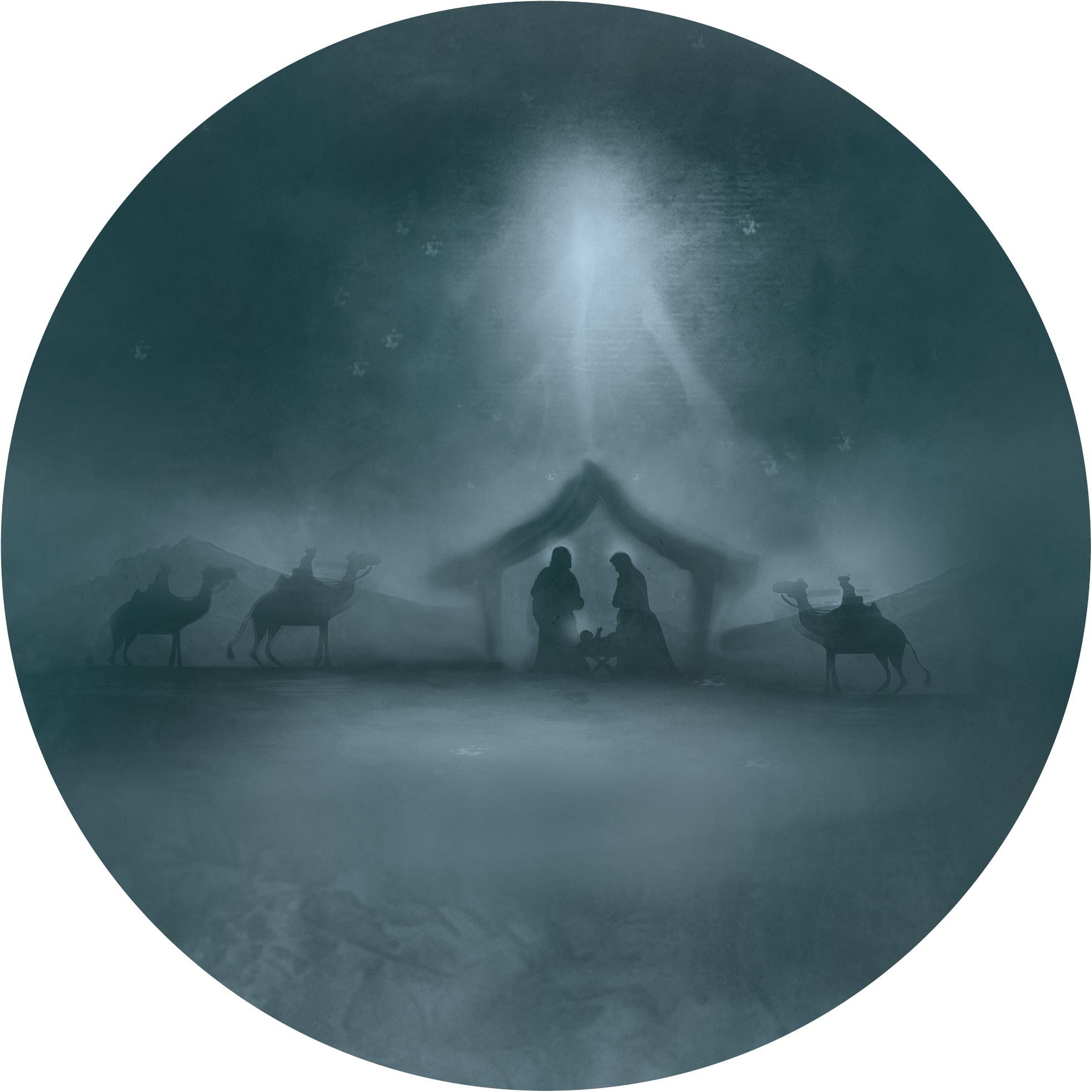 Muurcirkel Kerst Groen 25 cm - Stal van Bethlehem